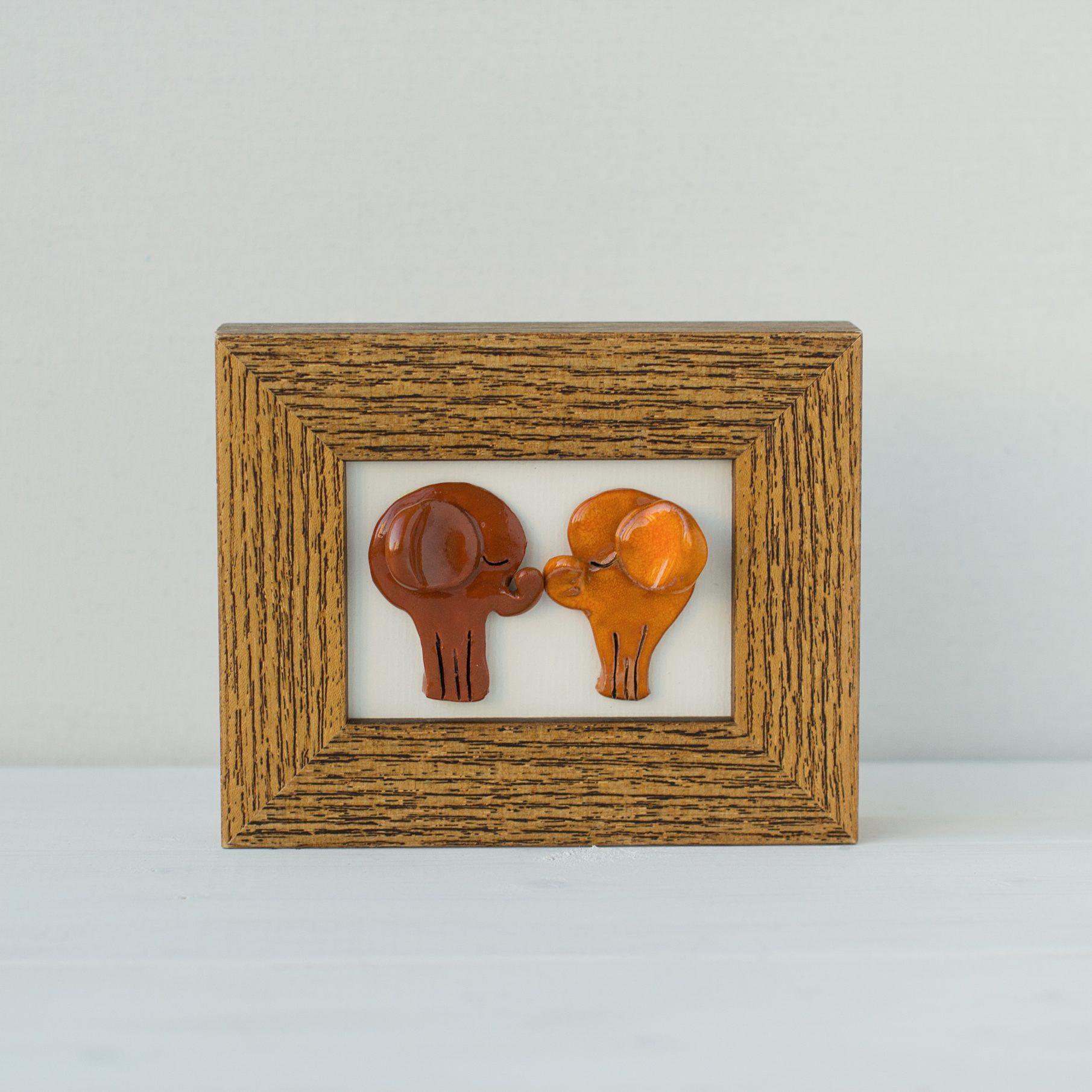Keramikinis paveiksliukas su drambliukais