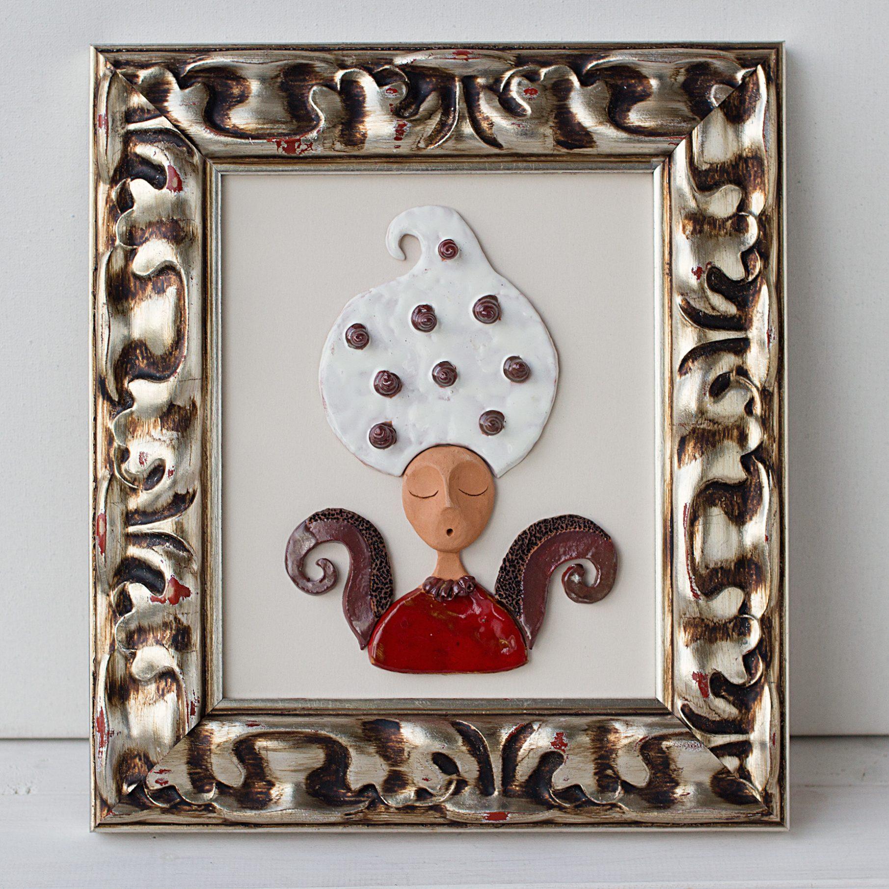 Keramikinis paveikslas su mūza, keramika, keramikinis reljefas