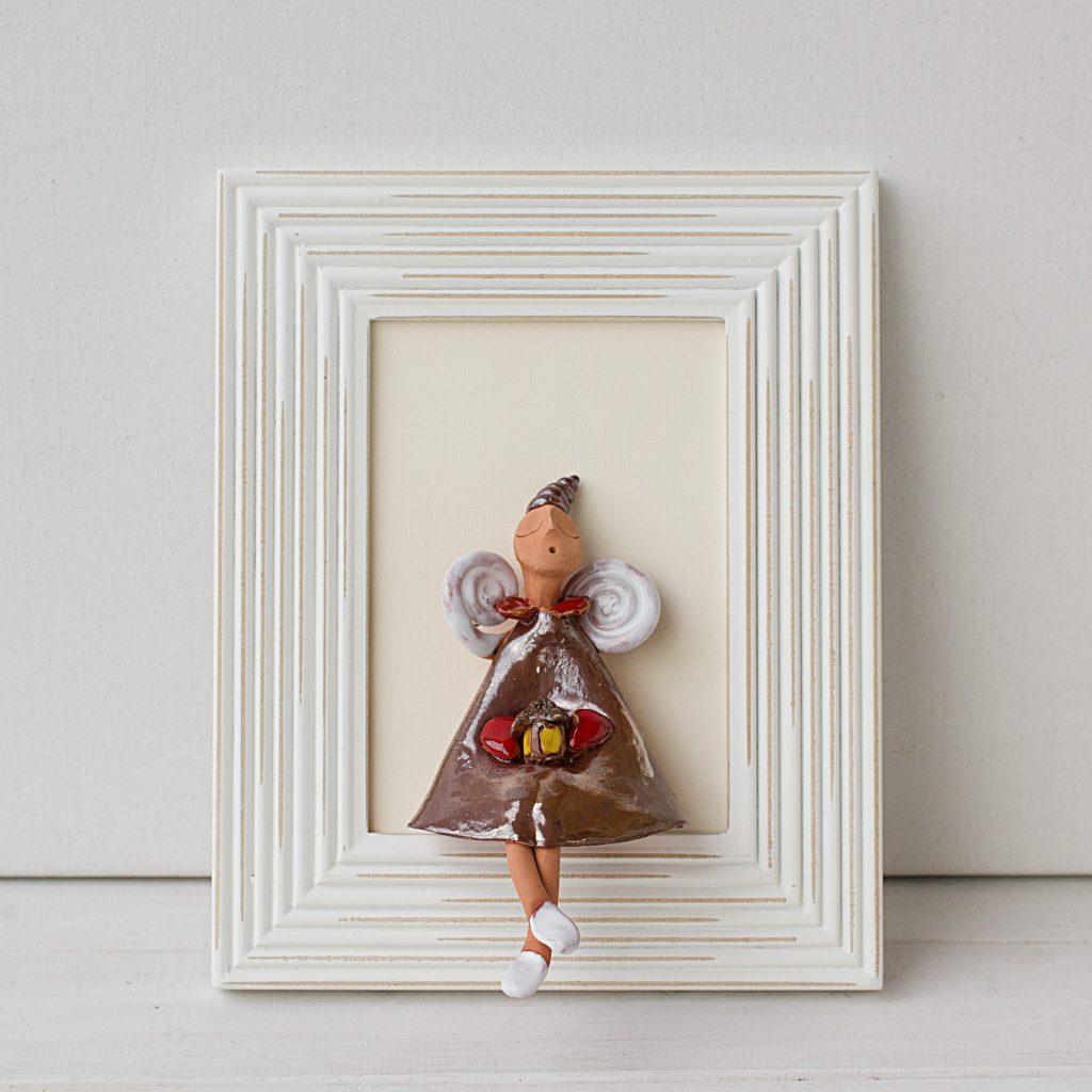 keramikinis paveikslas su angelu, keramikinis angelas