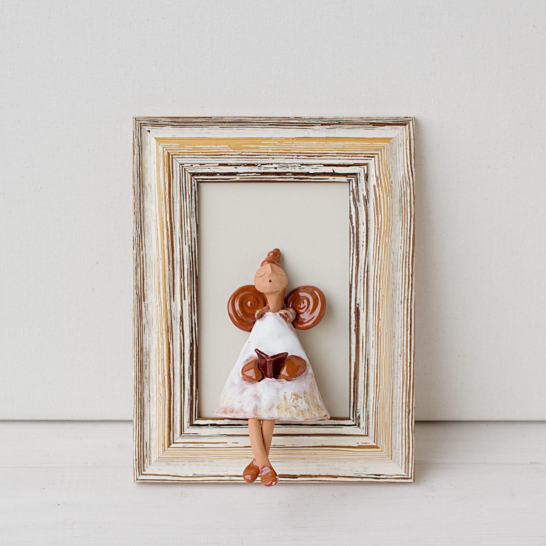 Keramikinis paveikslas su angeliu, keramikinis angelas