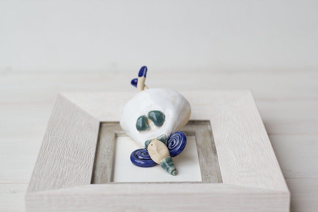 keramikinis paveiksliukas su angeliuku